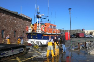 lifeboat at the quayside by the castle in Peel.