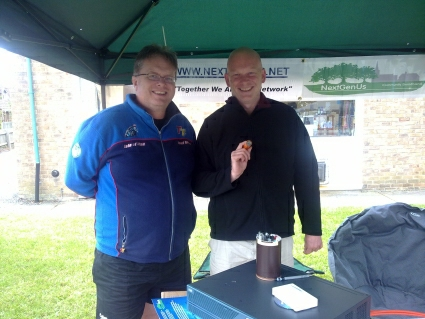 Trefor Davies with Guy Jarvis of Fibrestream at the Digby Fete