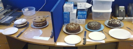 the 5 entries for the Timico chocolate cake competition