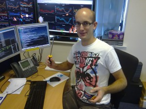 A typical sysadmin shows off his presents on National Systems Administrator Appreciation Day