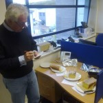 Timico chairman Tim Radford tries the Lemon Drizzle Cake competition entries