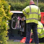 Openreach broadband engineers working at an FTTC cabinet