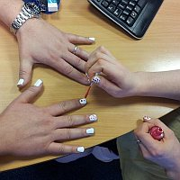 Timico Account Management Director Andrew North has his nails done to raise money for Children In Need