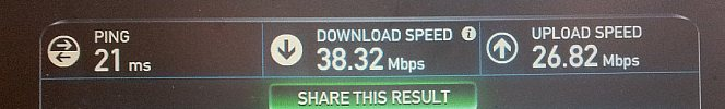speed test using a 4G dongle from O2 shows 38Meg down 27Meg up