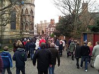 crowds walking past the cathedral entering the Lincoln Christmas Market 2011