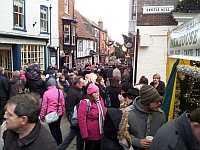 crowds on Steep Hill during Lincoln Christmas Market 2011