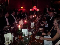 Timico management team at black tie dinner in private room at Stapleford Park hotel