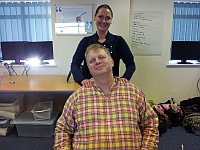 Tref being massage by Karen Mayfield - as you do