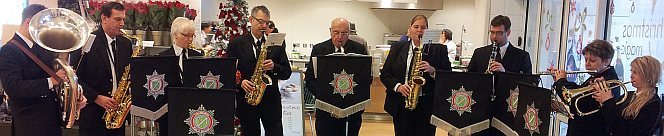 Lincolnshire Fire and Rescue Concert Band play for the good folks in Waitrose in Lincoln