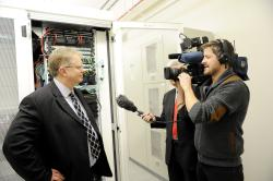 Trefor Davies is interviewed for the TV at Timico datacentre opening