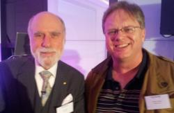 Vint Cerf with Trefor Davies at the Nominet Internet Policy Forum