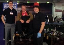 the Echoworx shoeshine stall at Infosec Europe