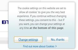 BT cookies message seen on first visit