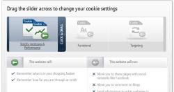 BT cookies slider showing minimum cookie setting