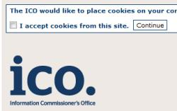 ICO website popup re cookies