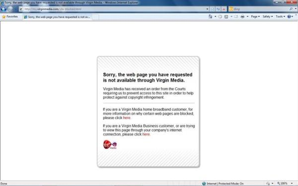 Screenshot - Pirate Bay is blocked by Virgin Media