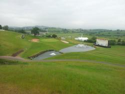 the view of the 18th green on the 2010 golf course at the Celtic Manor taken from the hospitality area
