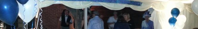 the very civilized scene at Jamie's 50th bash on Saturday night - spot the special guest to win a fabulous Timico mug