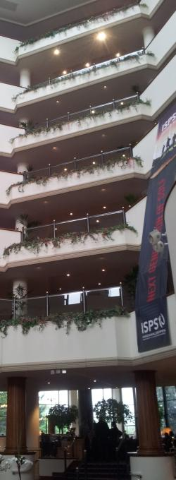atrium at the Celtic Manor Resort Hotel during the Wales Open golf