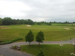 the view from my room at the Celtic Manor Resort Hotel - ensuite golf course