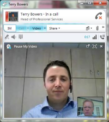 Lync video call screenshot with Terry Bowers and Trefor Davies