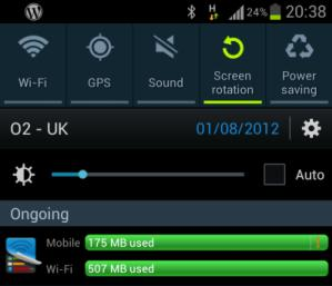 Galaxy S3 battery and wireless data usage