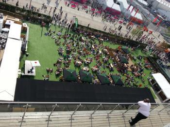 view of the Heineken beer garden from the Cisco House balcony