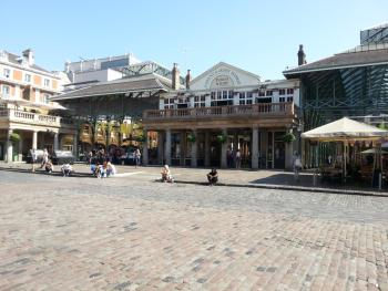 an empty Covent Garden piazza at around 11am on Friday