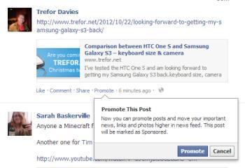 Facebook promoted posts screenshot