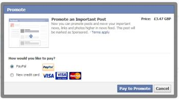 payment options for Facebook Promoted posts