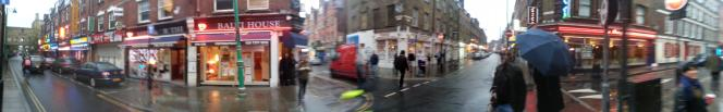 artistic shot of Brick lane in the drizzle at 6pm on October 8th