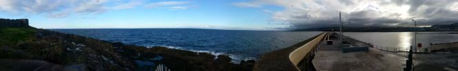 looking out to sea from Peel breakwater in the Isle of Man