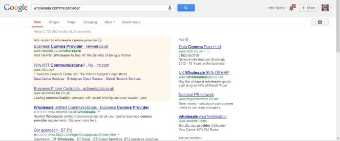 google rankings wholesale comms provider