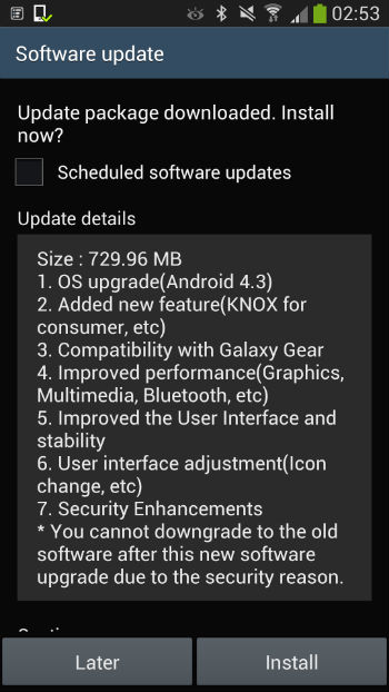 android 4.3 upgrade