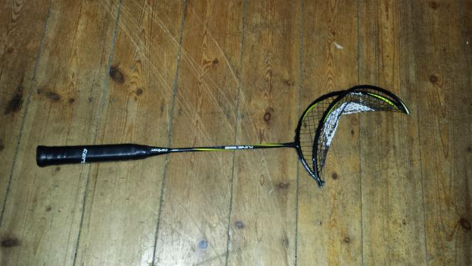 a broken badminton racket