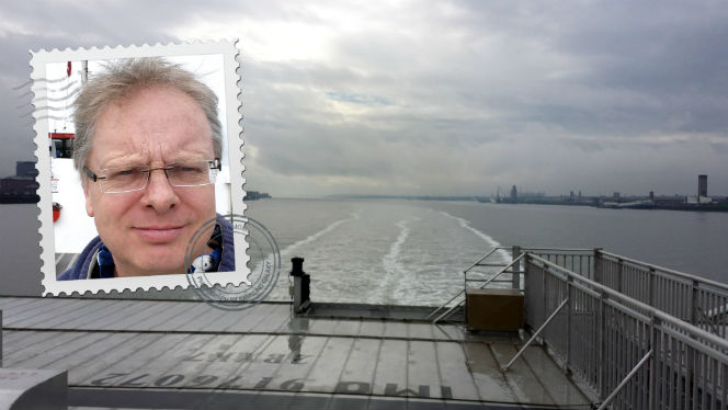 leaving of liverpool - view from stern of IOM ferry Manannan