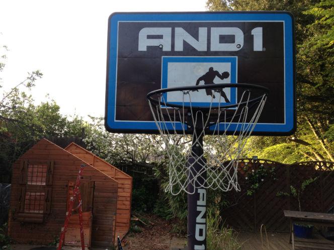 basketball hoop in back garden