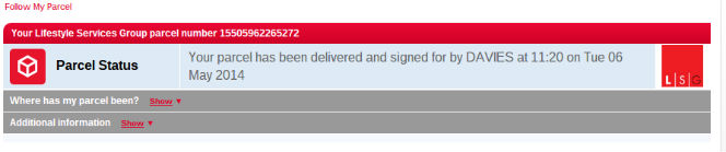 DPD parcel status - delivered