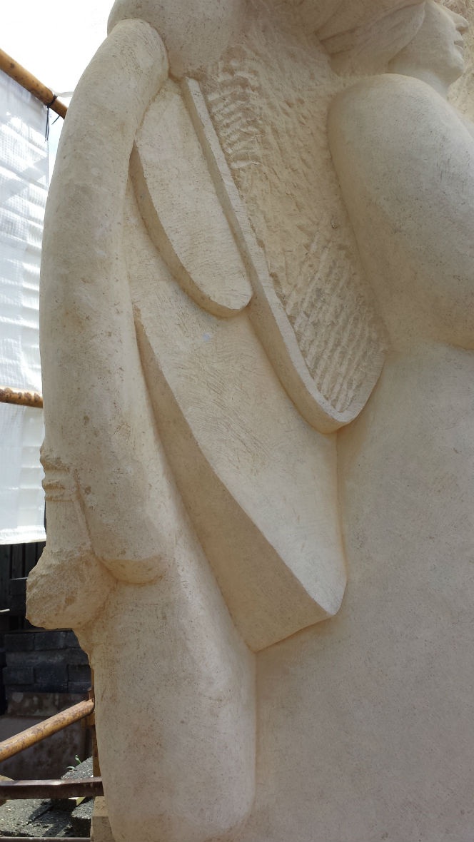 close up of wing in progress on Lincoln Eleanor Cross