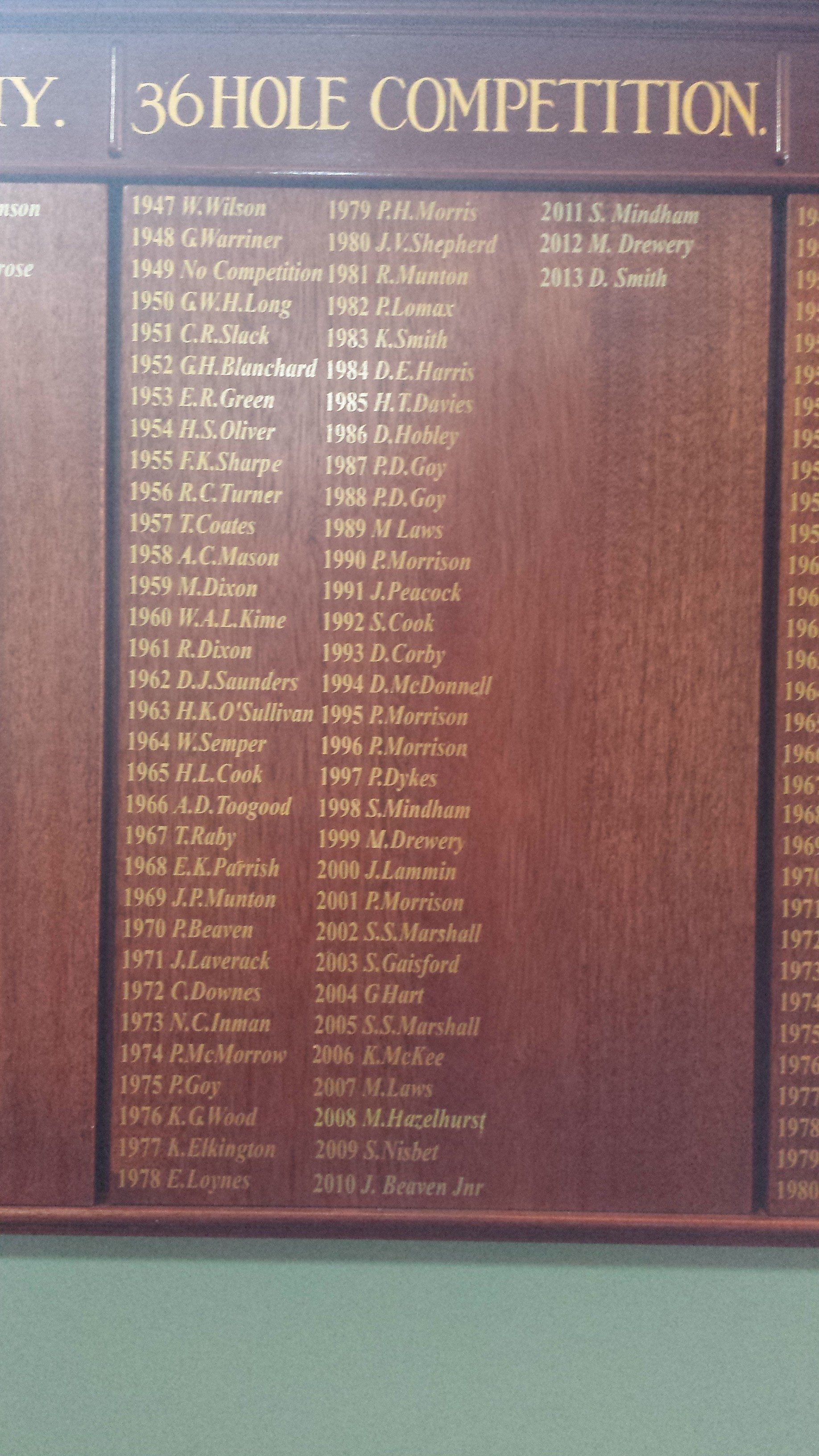 36 hole competition honours board ay carholme golf club in lincoln