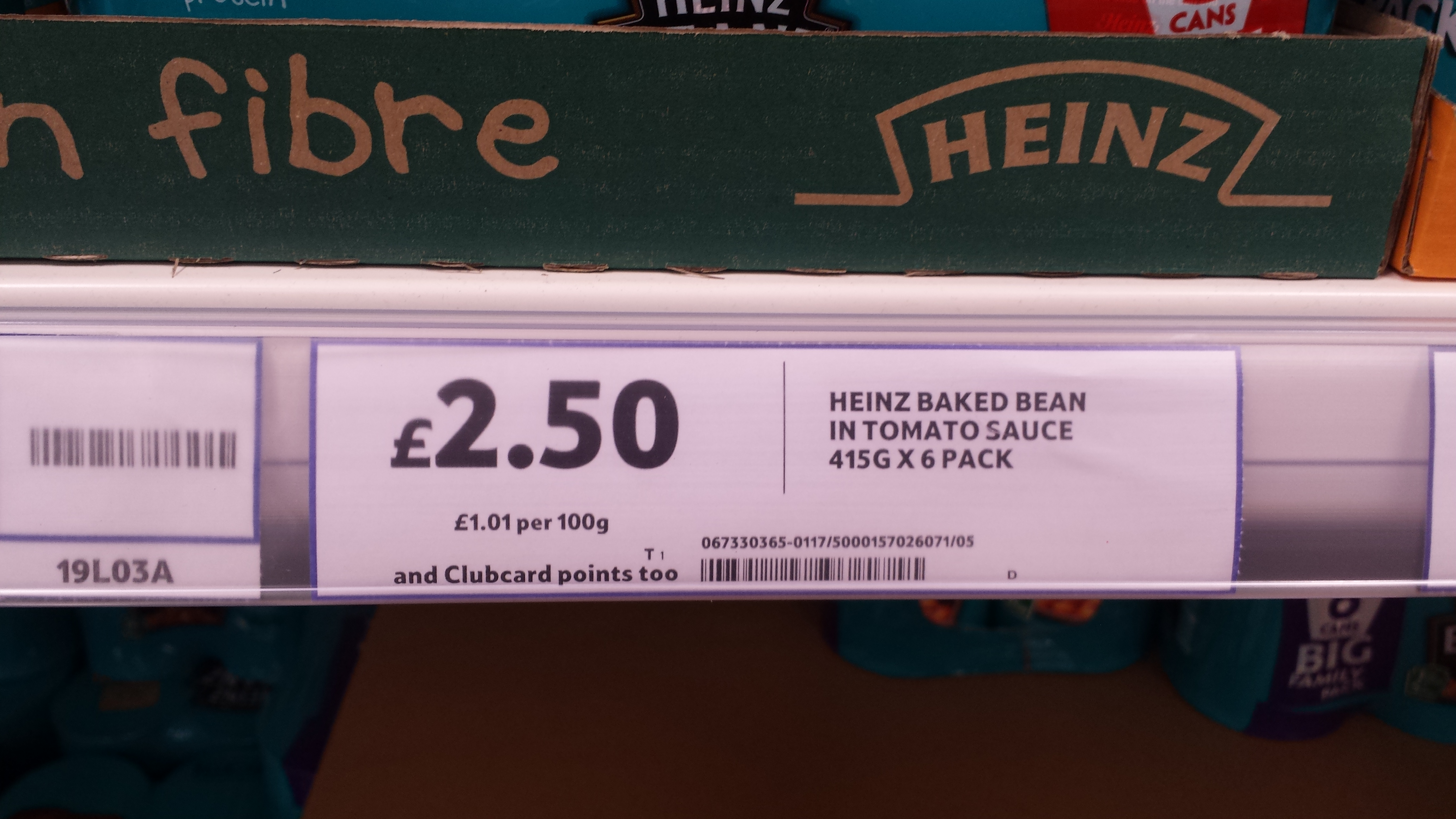 Heinz baked beans 6 pack at Tesco