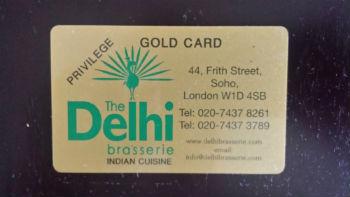 delhi brasserie gold card