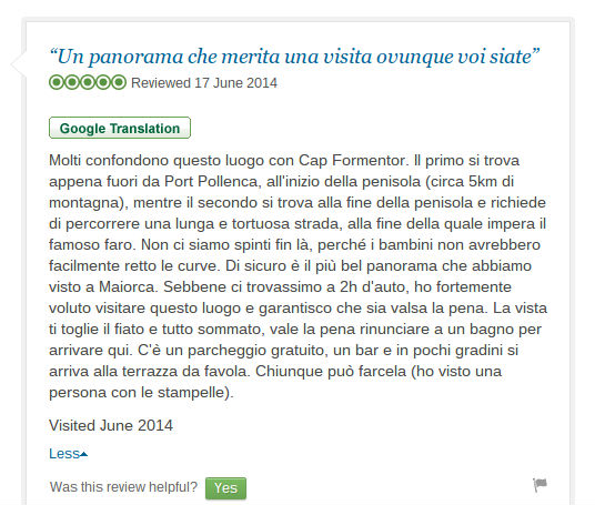 screenshot of tripadvisor in italian pre google translate funny error