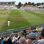 Pamela Anderson tries to attract fielder's attention at Trent Bridge