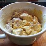 tandoori marinade lamb marinating in a jug