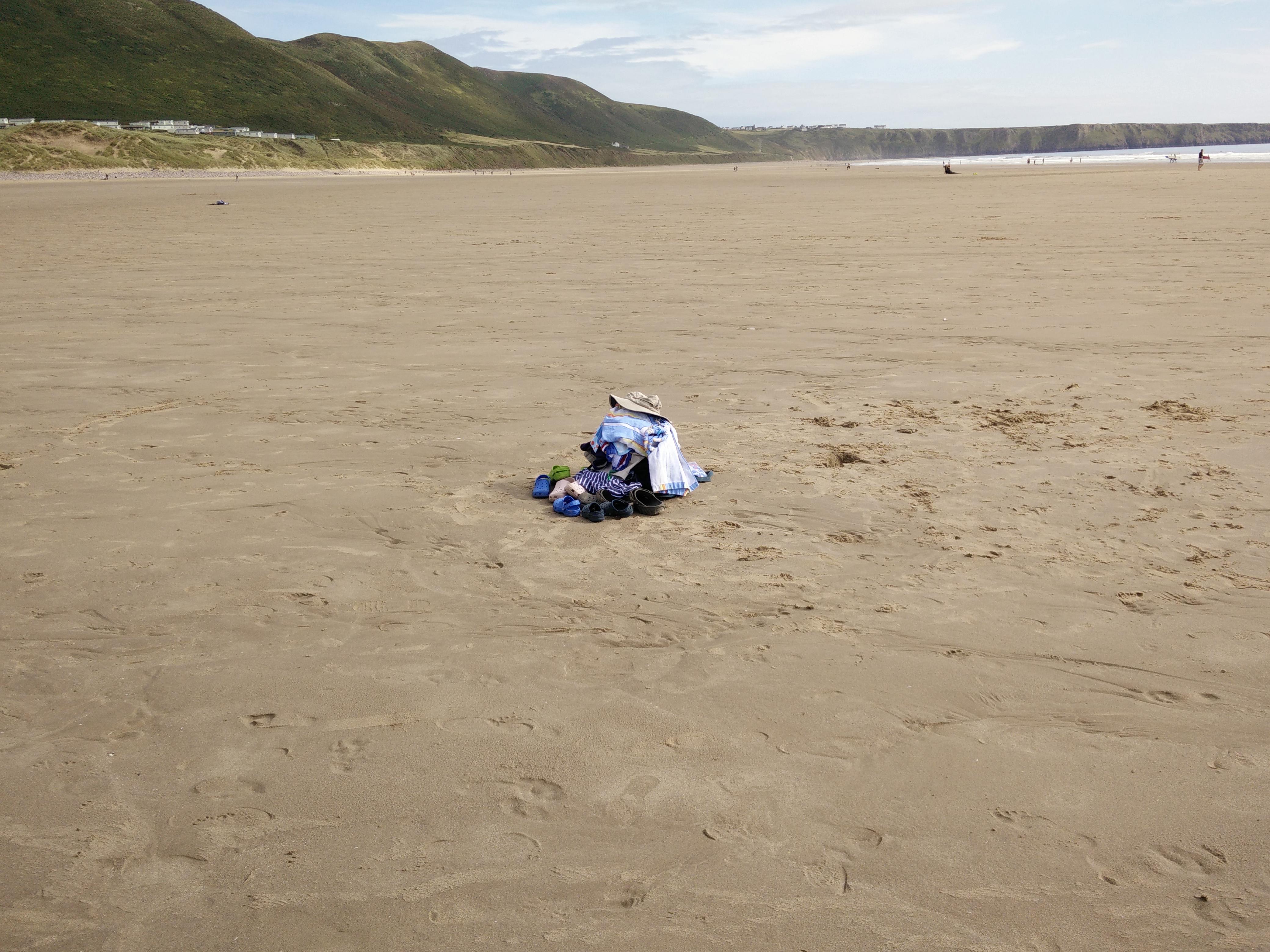 clothes on rhossili beach