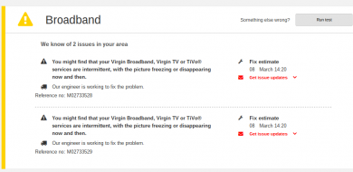 virgin media broadband problem