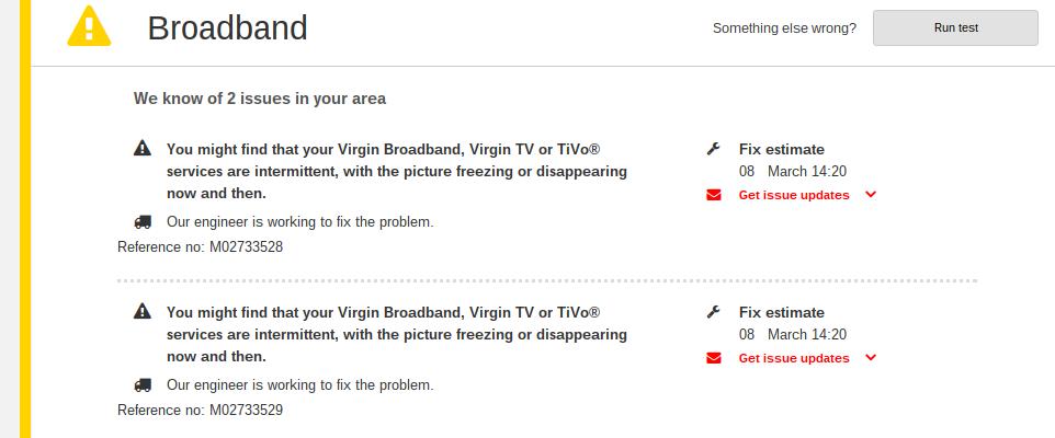 virgin media broadband problem