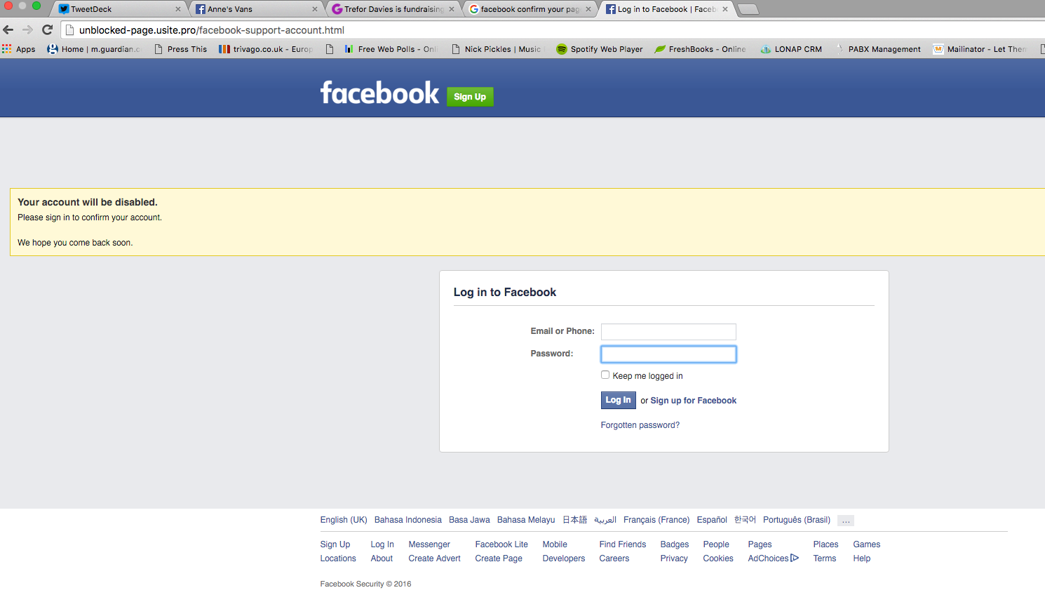 facebook notification phishing