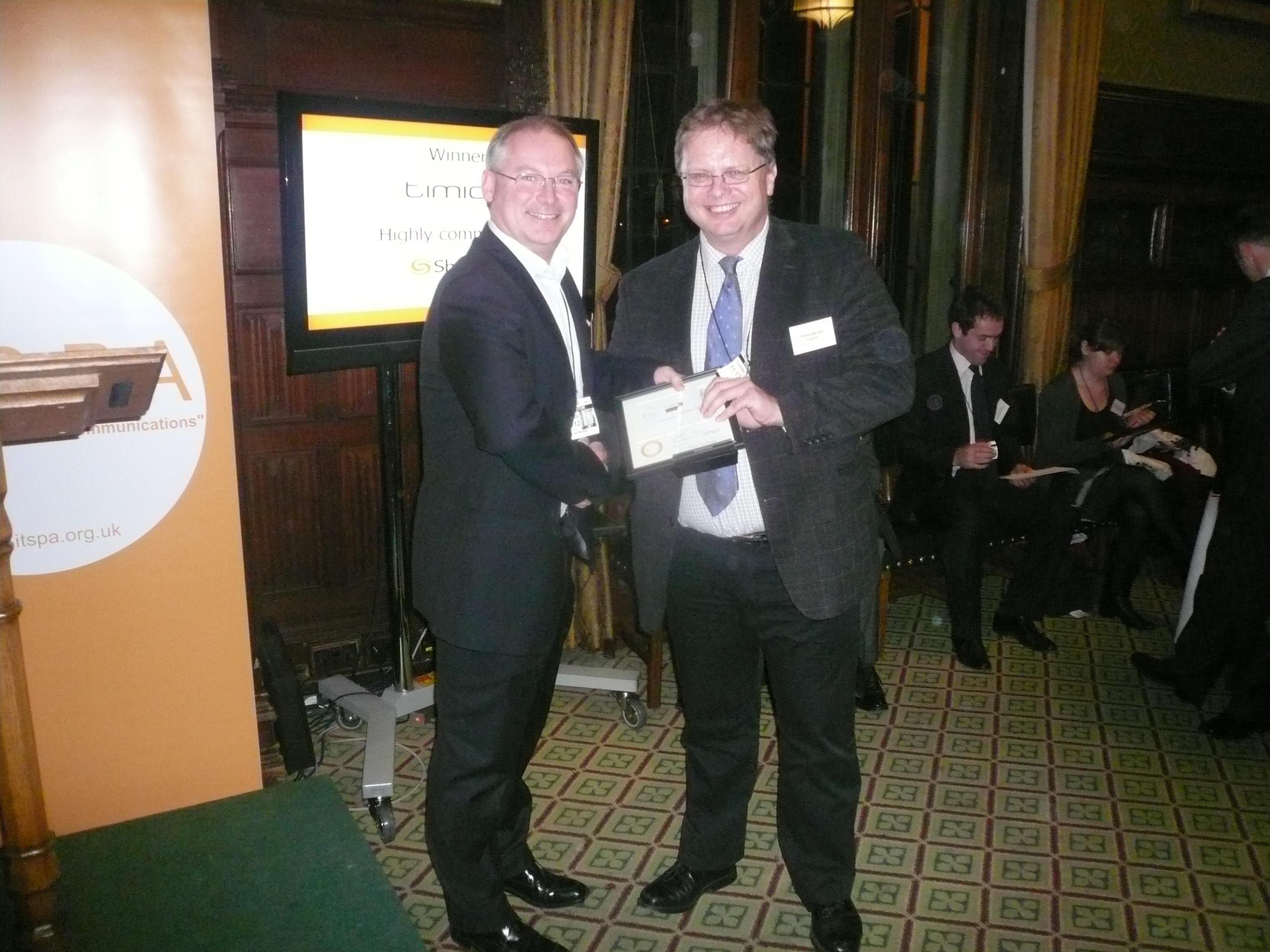 Tref accepts the ITSPA Award